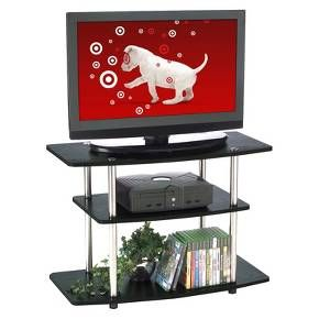 Showcase your television on this wood-and-steel TV stand. Three spacious shelves provide plenty of room for electronic components and media. The open back allows you to hide cords and cables from view.