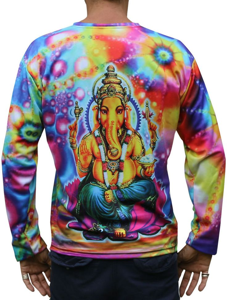 """Sublime L/S T : Psy Ganesha Fully printed long sleeve T shirt. This shirt is an """"All Over"""" printed T shirt that will really grab people's attention. Printed using sublimation dyes on a high quality polyester / Dri-Fit blended shirt. This allows for extremely vibrant colors that will never fade away no matter how many times it gets washed, & results in an extremely soft """"feel"""" to the shirt, providing ultimate comfort. Fabric is 100% Polyester/Dri-fit. Artwork by Space Tribe"""