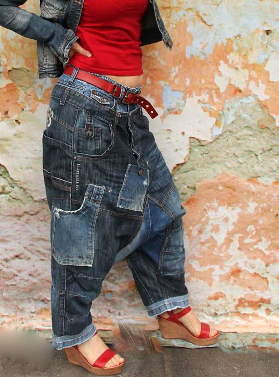 L pazzo stile yoga pantaloni denim jeans riciclato hippie boho