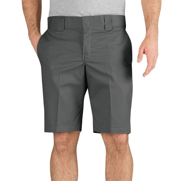 Men's Dickies Slim-Fit Flat-Front Work Shorts, Size: 36, Silver