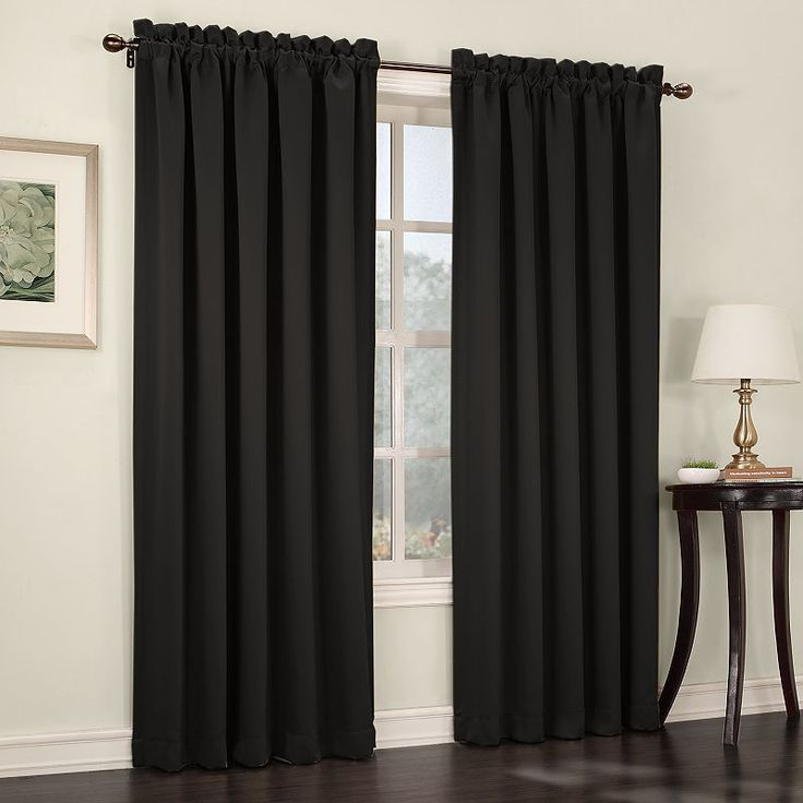 Sun Zero Gramercy Room Darkening Curtain, Black