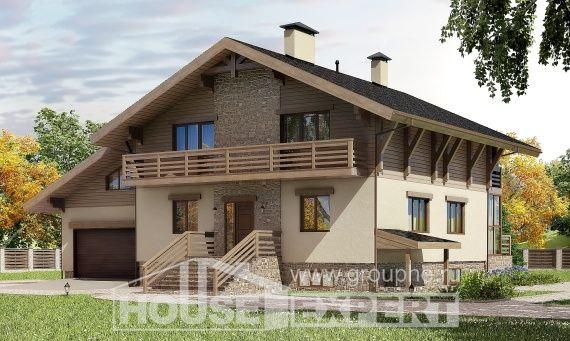 420-001-L Projekt domu trzykondygnacyjnego z pięterkiem mansardowym i garażem, przestronny domek wiejski z cegieł, Gorzów Wielkopolski