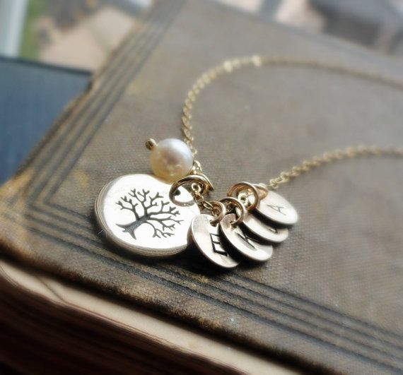 Personalized Family Tree Necklace, UP TO 4 LETTERS, Mothers necklace, gold fill, tree of life, hand stamped mothers necklace