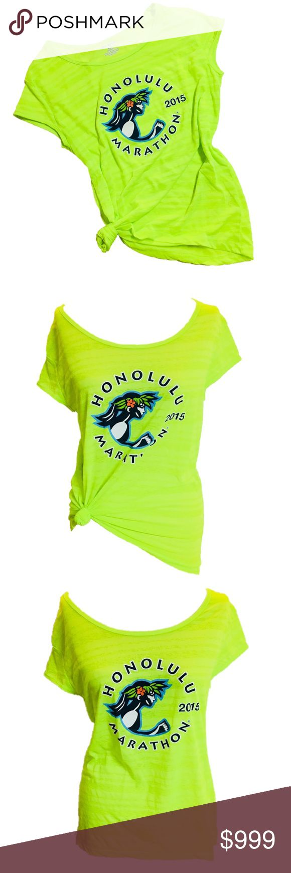 <<New~ Honolulu Cool Breeze Running T-Shirt Tee HONOLULU Sports Running 2015  Cool Breeze Women's Tee Top  CONDITION: New with tags COLOR: Neon green  PRODUCT DETAILS:   Layer over a tank top or sports bra for that go to workout look. Great for fitness, working out, Zumba, running, etc..  Lightweight - Great for running & exercise Sheer striped design 100% Polyester 2015 Honolulu Mara-thon Design Tops Tees - Short Sleeve