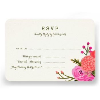 Hand painted pink and red floral design by Shelby Allison. #magenta #flower #floral #wedding #garden #vintage #cards #rsvp #response #card #rustic #purple #design #pink #red #fall #autumn #bright #jewel #tones #tone #toned #colorful #boho #painted #hand #flowers #green #orange #seed #packet #hot #summer #girly #stylish #backyard #diy #bouquet #drawing #drawn