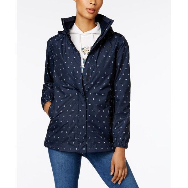The North Face Resolve Mesh-Lined Hooded Raincoat ($110) ❤ liked on Polyvore featuring outerwear, coats, urban navy, the north face® coats, navy blue coat, navy blue raincoat, rain coat and navy coat