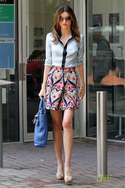 Printed skirt, tailored top  Miranda Kerr
