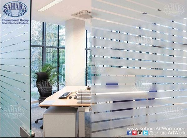A clean sandblasted stripes for office doors and partitions. We can provide you with variety of standard and decorative glass solutions that suits your different needs!