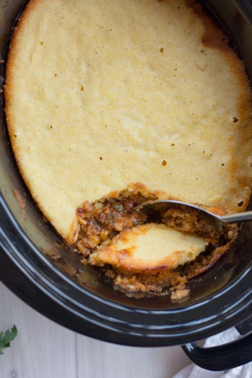 Crockpot Mexican Chili with Cornbread Topping