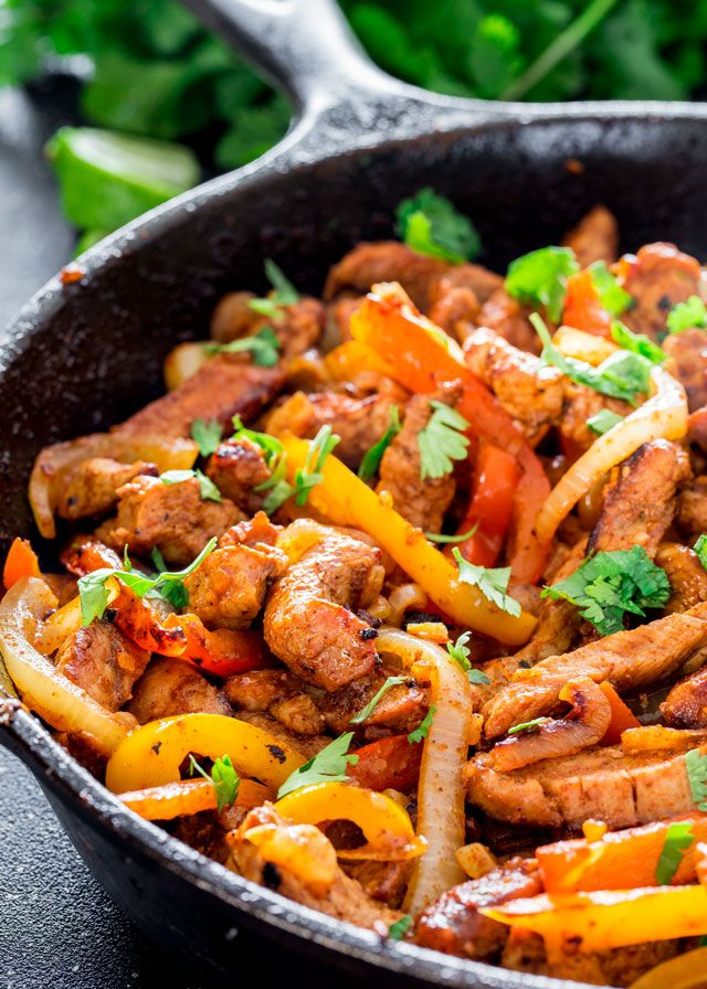 Delicious Pork Fajitas just like the restaurant favorite, but with delicious pork tenderloin instead. Incredibly tasty bound to satisfy even the picky eaters.