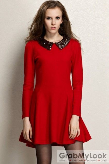 GrabMyLook  Sequined Collar Long Sleeves Skirt Dress