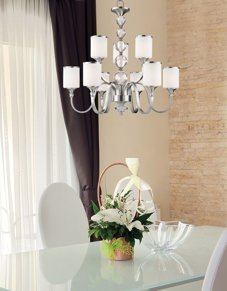 308-9-BN  #crystal #contemporary #chandelier #elegant #dining #kitchen #lighting #zlite