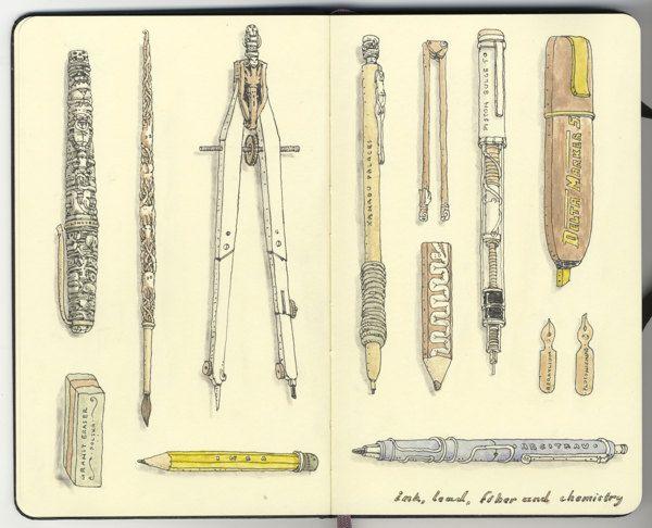 Snatched spreads 23-24 Sketchbook by Mattias Adolfsson, via Behance