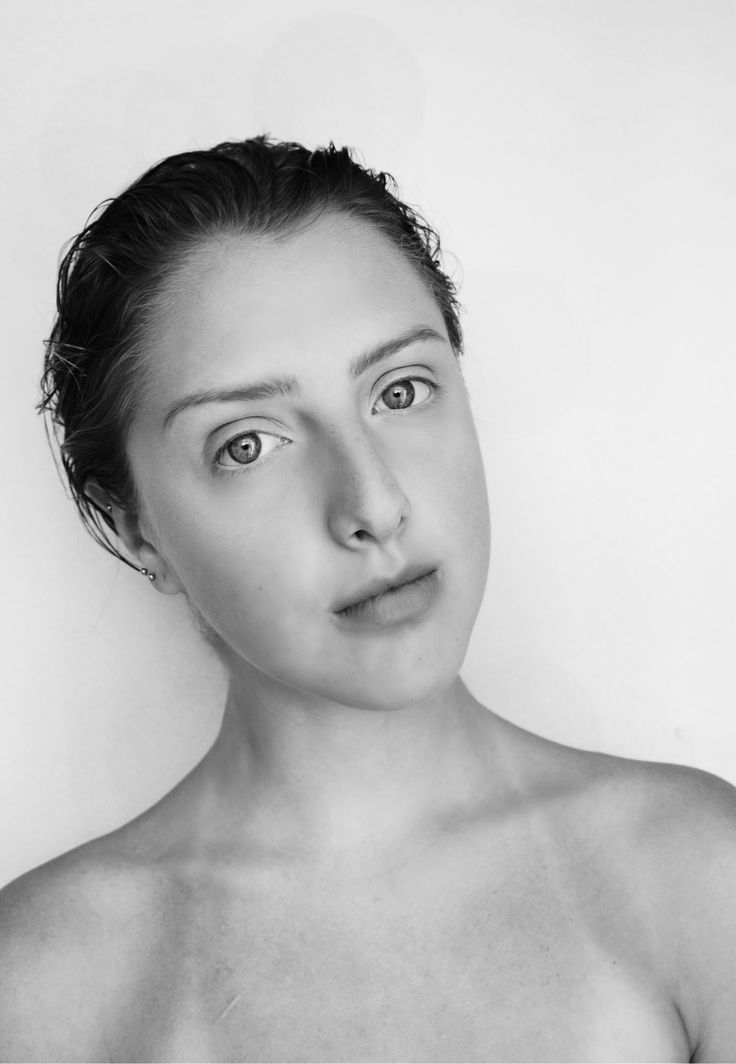 black& white, wet hair, no makeup, strong brows