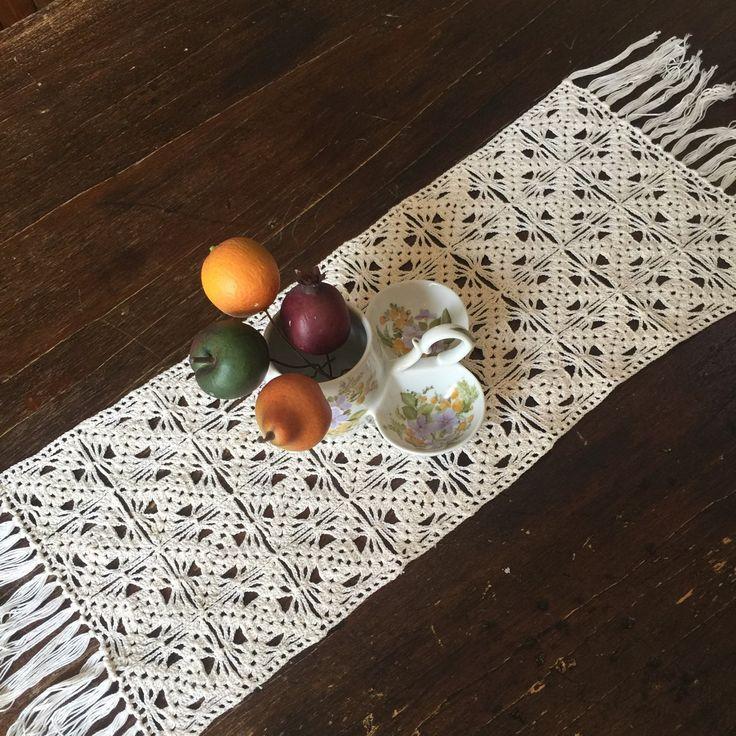 Vintage Crochet Doily - Crochet Table Runner - Crochet Table Topper - Fringe Runner - Crocheted Table Scarf - Farmhouse Decor - Rustic Decor