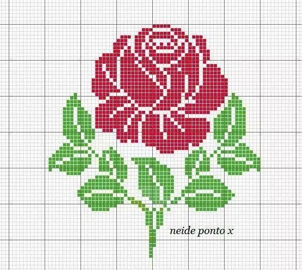 Rosa punto de cruz diagrama