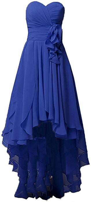 979eb7e6f22 Kevins Bridal Chiffon High Low Bridesmaid Dresses 2017 Pleats Beach Evening  Dress Royal Blue Size 24W at Amazon Women s Clothing store