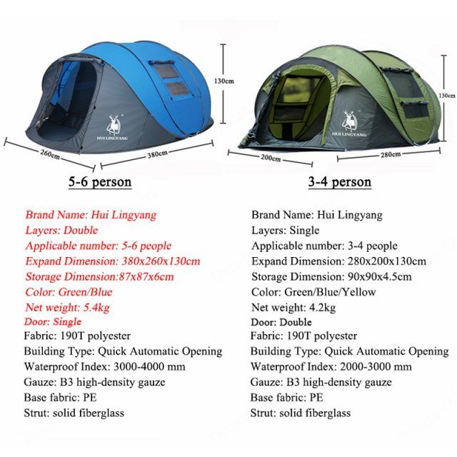 6 Person Easy Pop Up Tent Automatic Setup, Double Layer