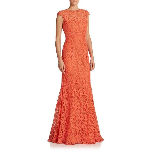 ML Monique Lhuillier Lace Open-Back Mermaid Gown (390 AUD) ❤ liked on Polyvore featuring dresses, gowns, gown, apparel & accessories, orange, lace wedding gowns, red gown, mermaid gown, long dresses and women dresses