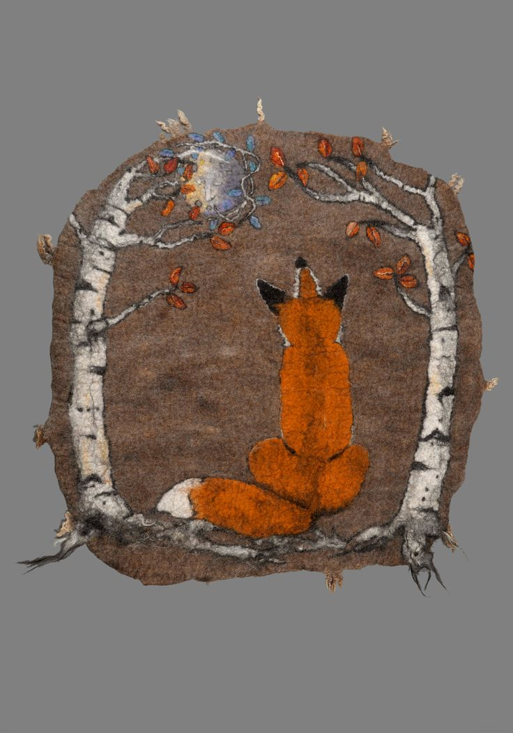 Hand felted rug Red fox
