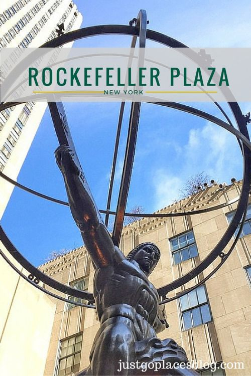 Rockefeller Plaza in New York City with the Atlas statue (a Greek Titan who was punished by the Greek gods to hold up the world on his shoulders for all eternity)