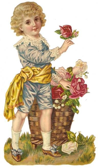 Victorian Die Cut Flower Boy Rose Scrap