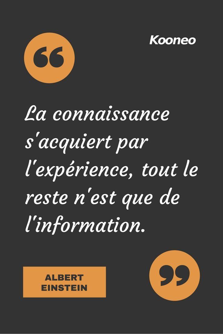 """[CITATIONS] La connaissance s'acquiert par l'expérience, tout le reste n'est que de l'information."""" ALBERT EINSTEIN #Ecommerce #E-commerce #Kooneo #Connaissance #Expérience #Alberteinstein : www.kooneo.com"""