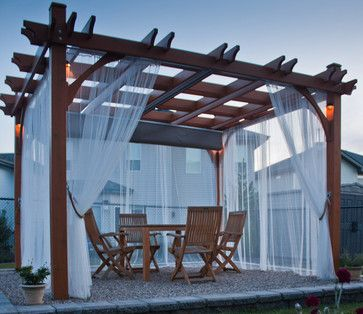 The 10x12 Cedar Pergola Kit with retractable canopy will add beauty and elegance to your outdoor living space. Perfect for hanging out with your family and friends or to have intimate dinner parties under the stars. The attractive retractable canopy offers outdoor living even when the weather does not quite want to