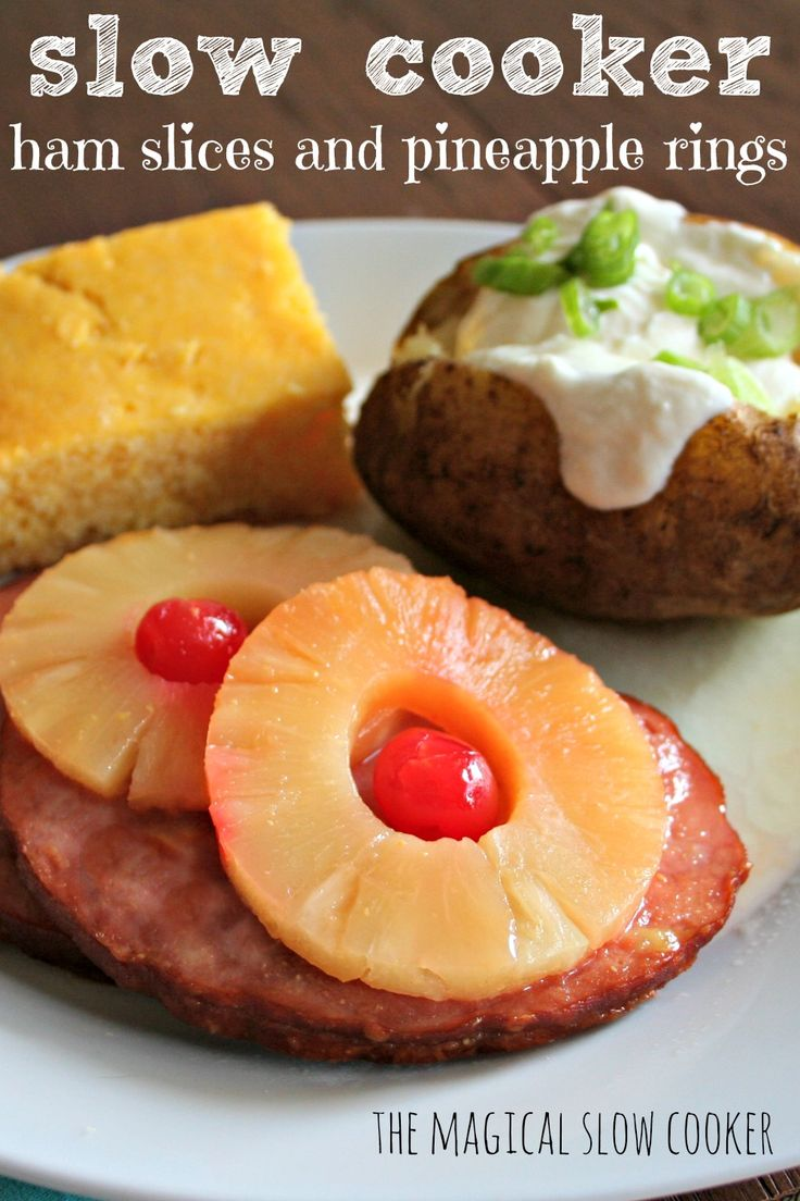 """This Slow Cooker Ham Steaks and Pineapple Rings turned out amazing. I was thumbing through one of my favorite cookbooks """"The Whistle Stop Cafe"""""""