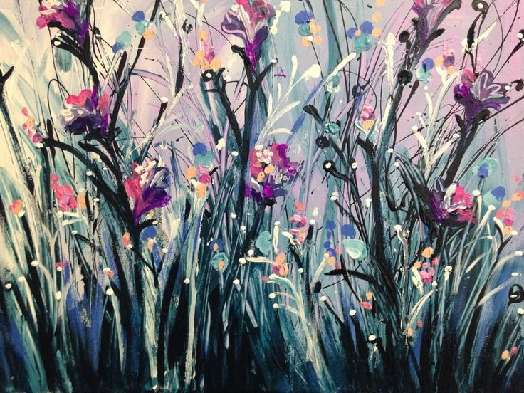 Original Semi Abstract Splatter Flower Painting By Artist joJo spook