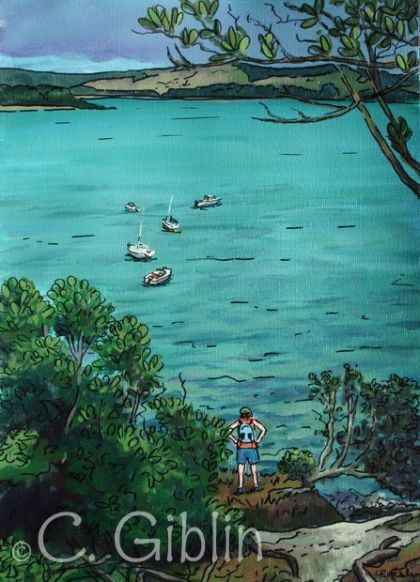 Looking down on Flaxmill Bay Art Print - The Little Gallery