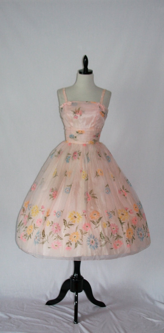 Vintage Dress - 1950's Lorrie Deb Pink Chiffon Full Skirt Party Prom Frock