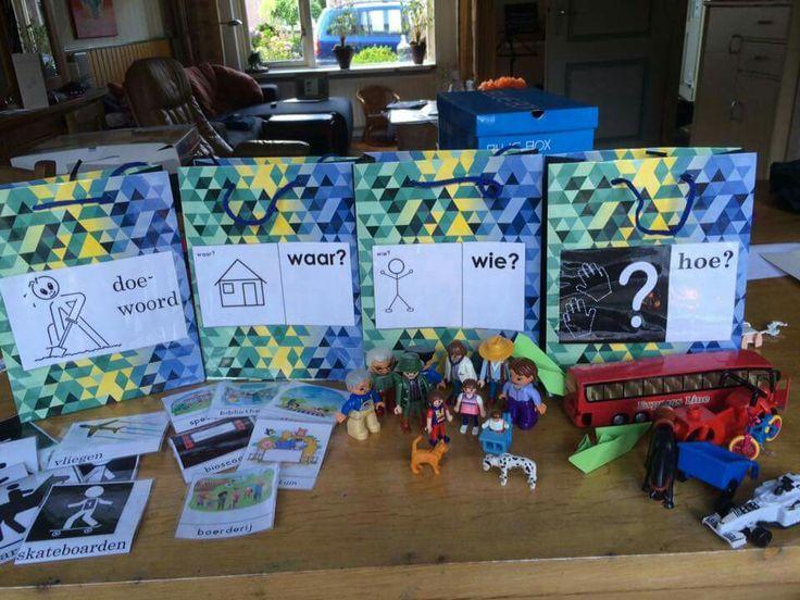 Lange zinnen leren maken met de lange zinnen tasjes. Mooi hulpmiddel voor NT2 kinderen!