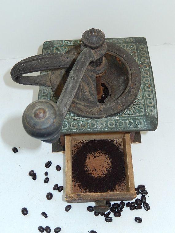 Antique Coffee Grinder Mill wood metal by VintageTreasuresRus, $39.99