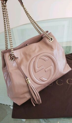ea0a6ccb70e3 Gucci Soho Medium Chain Tote Blush Nude Pink #gucci #guccibag #luxurybags