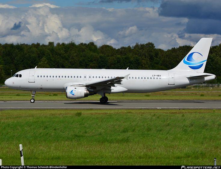 Avion Express Airbus A320-211 LY-VEV aircraft, skating at Germany Hamburg International Airport. 14/08/2016.