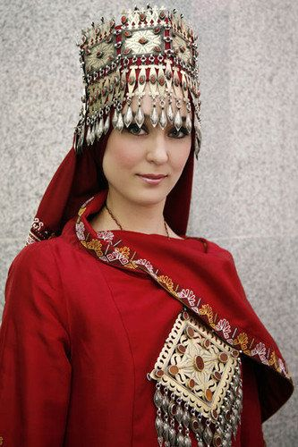 Traditional Clothing of Turkmenistan.