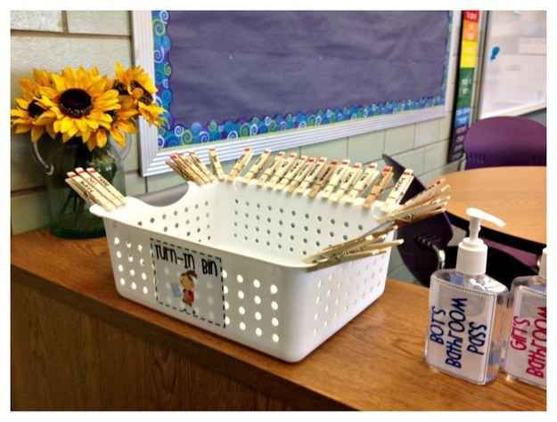 Create a turn-in bin with clothespins that are labeled with each student