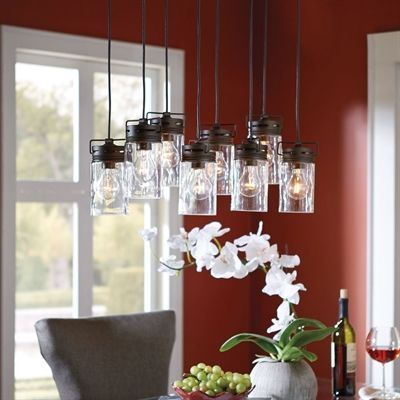 allen + roth Vallymede 7.7-in Olde Bronze Multi-Pendant Light with Clear Glass Shade