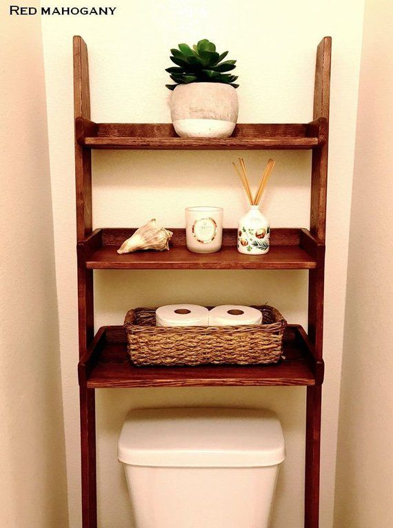 Over The Toilet Leaning Ladder Shelf Made To Order Shelves