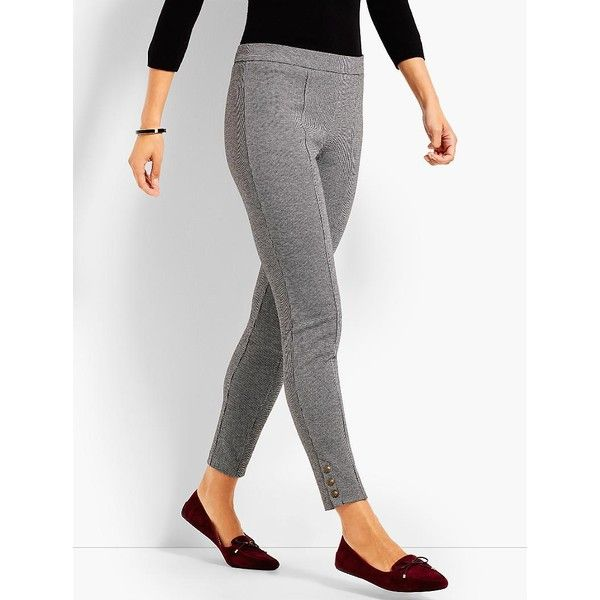 Talbots Women's Mini Check Button Ankle Legging ($90) ❤ liked on Polyvore featuring pants, leggings, wet look leggings, shiny leggings, white pants, long leggings and petite pull on pants