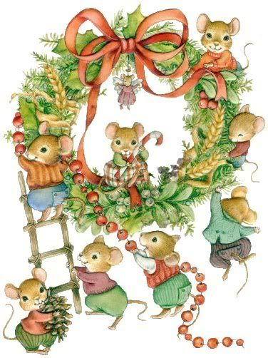 little mice making a wreath