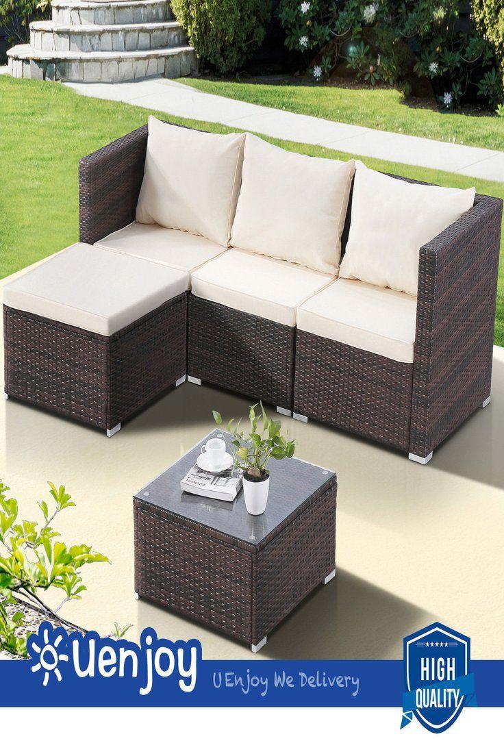 289 90 5pcs Outdoor Rattan Wicker Sofa Set Patio Garden Sectional Cushioned Furniture 5pcs Outdoor Rattan Wicker So Outdoor Sofa Sets Patio Sofa Set