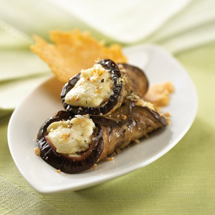 Eggplant Rolls with cured ham, feta and herbs