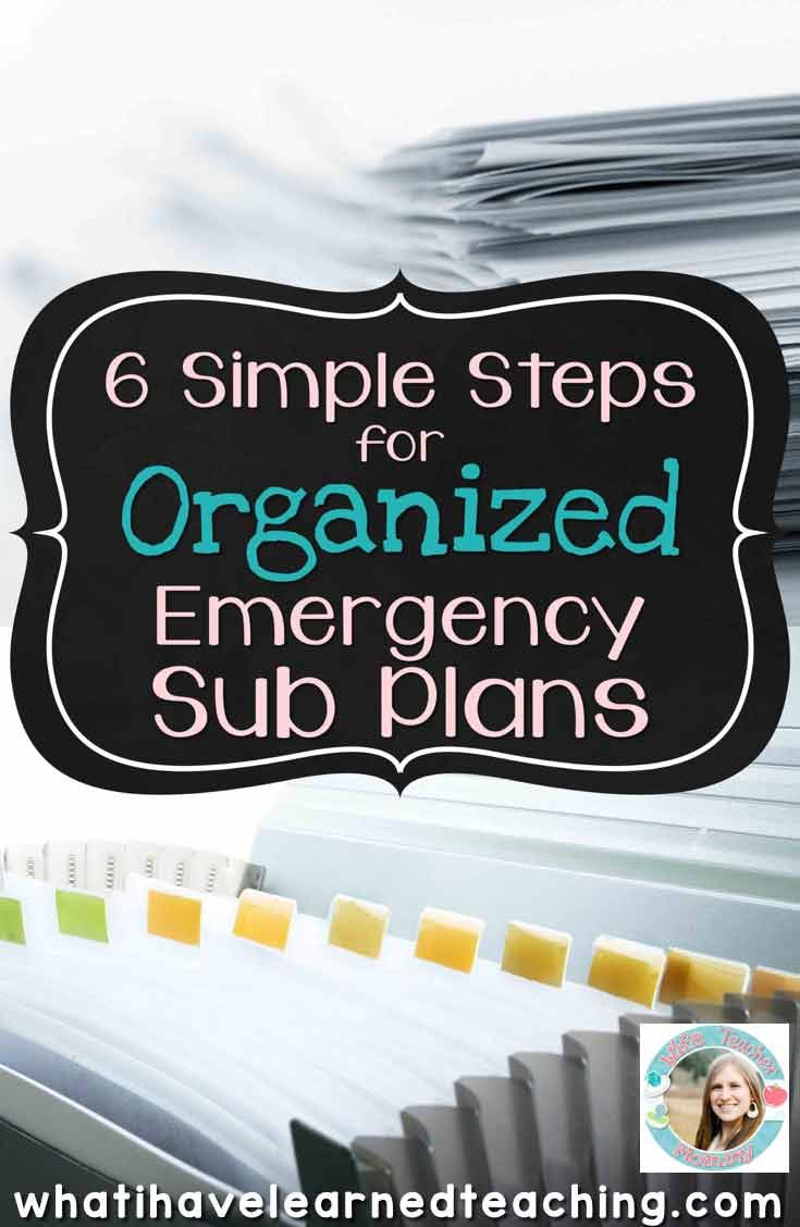 How well organized are your emergency sub plans? Learn six simple steps to create organized emergency sub plans for your classroom.