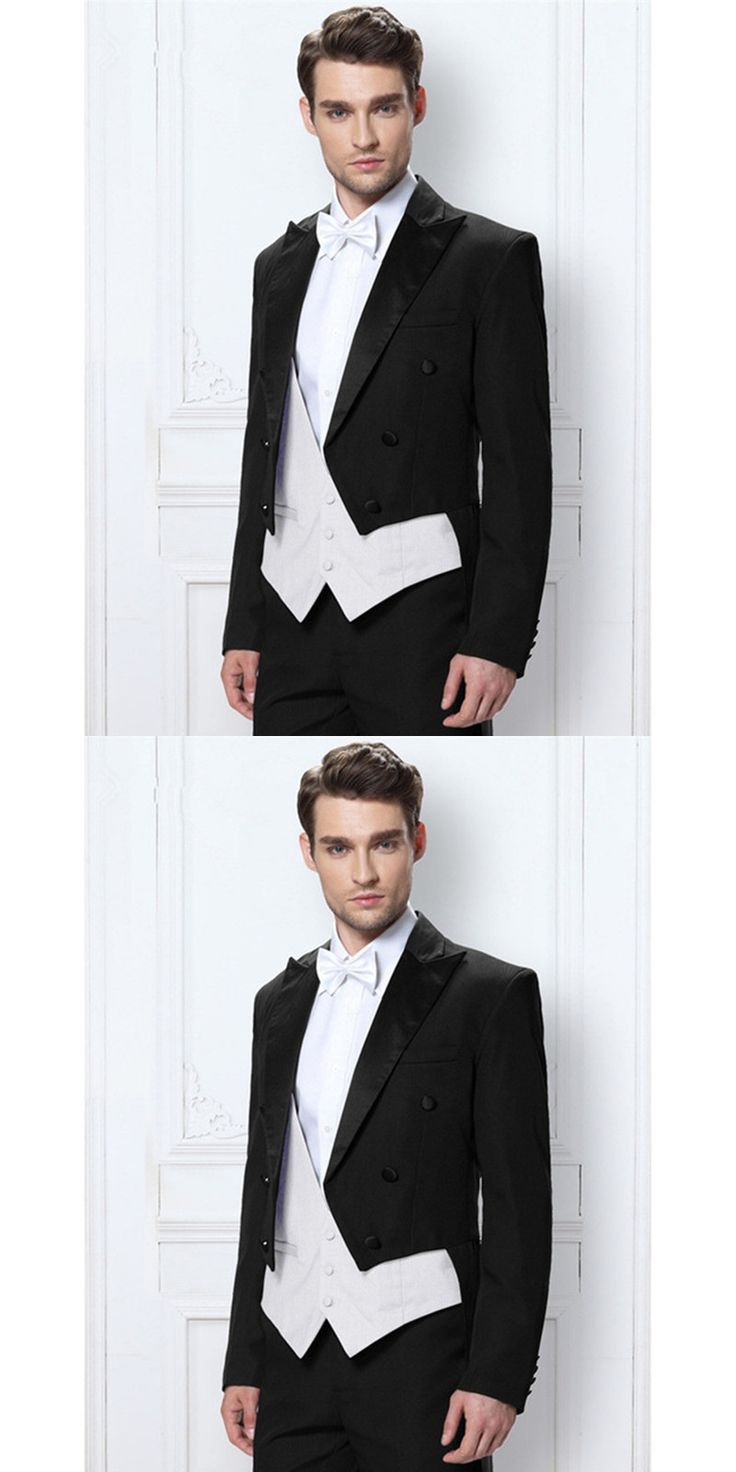 Hot Sale Black Italian Mens Tailcoat Wedding Suits for Men Groomsmen Suit 3 Pieces Groom Wedding Suits 2017 White Vest Mens Suit