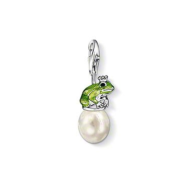 """THOMAS SABO Charm pendant """"frog"""" with lobster clasp, 925 Sterling silver, freshwater pearl, green and black-enamelled.   Maybe he will transform into a prince? The frog with the crown is perching on a cultivated freshwater pearl waiting for his kiss. Size: 1.9 cm"""