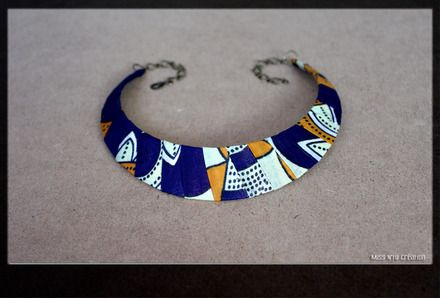 www.cewax.fr aime ce Collier Plastron en Tissus Wax Africain Matériaux utilisés: Tissu african - tissus wax  Collier Ras du Cou/ Plastron / Ethnique/ Wax Tissus Wax - Aux tons bleu nuit, orangé  - 16540503