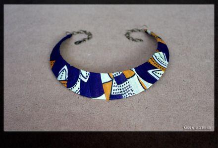 Collier Plastron en Tissus Wax Africain Matériaux utilisés: Tissu african - tissus wax  Collier Ras du Cou/ Plastron / Ethnique/ Wax Tissus Wax - Aux tons bleu nuit, orangé  - 16540503