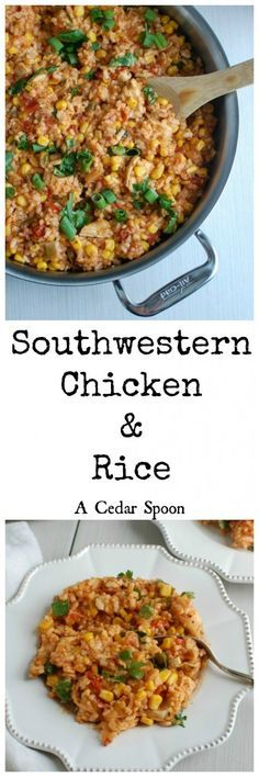 Southwestern Chicken and Rice takes your favorite classic chicken and rice dish and spices it up with Southwestern flavors. Brown rice, diced chicken, sautéed onion is mixed with salsa and cheese to create a comforting weeknight meal. // A Cedar Spoon